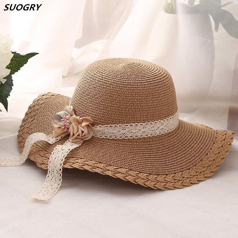 2018 Wholesale and Retail Fashion child Girls Wide Large Brim Floppy Summer Beach Sun Straw Hat Cap with flower Lace Free Shippi