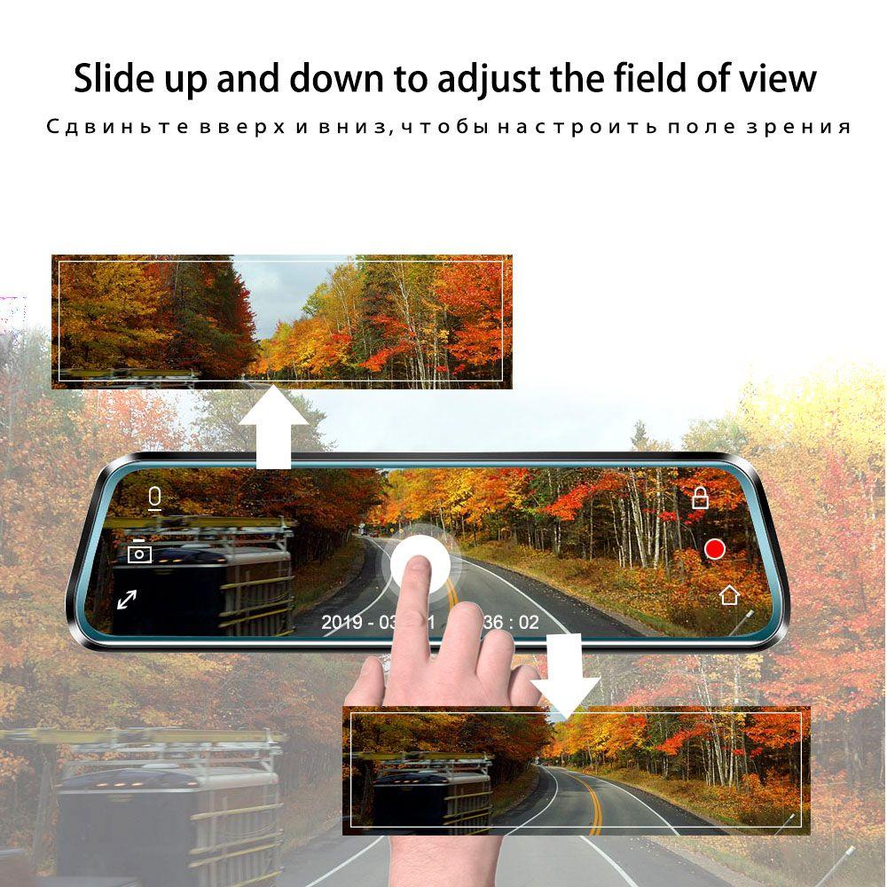 Volemer 10 pouces écran tactile caméra DVR vue arrière miroir Dash cam Full HD voiture caméra 1080 P arrière caméra double lentille enregistreur vidéo
