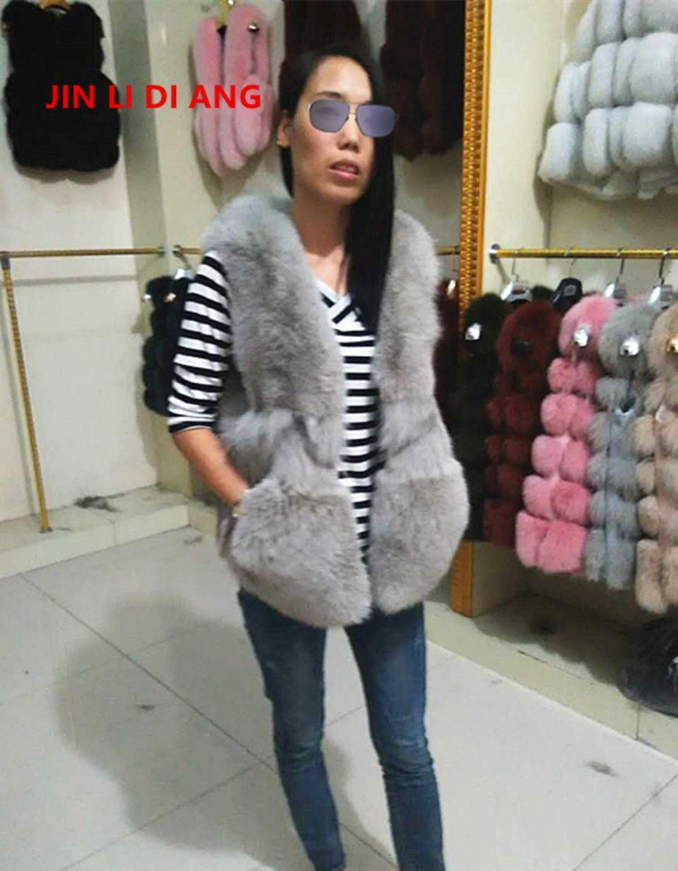 Jin Li Di Ang Real Fox Fur Vest Fashion Slim Vests Low Price Winter Autumn Spring Full Pelt Fox Fur Vintage Vest Jacket
