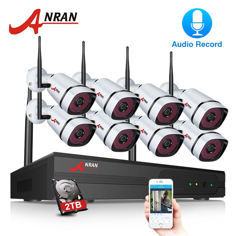 ANRAN Wifi Security Camera System 8CH NVR With 1080P HD Audio Record Outdoor Night Vision IP Camera Wireless Surveillance System