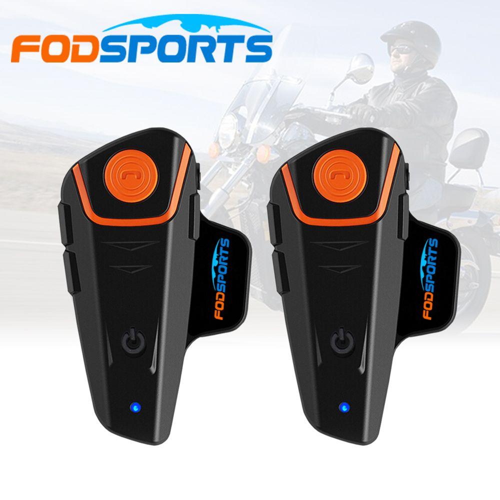 Russia Stock 2 pcs Fodsports FM Motorcycle Intercom BT Bluetooth Wireless Waterproof Interphone Helmet Headset Earphone BT-S2
