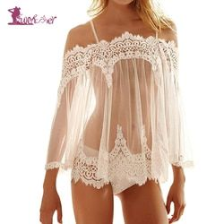 Lurehooker Sexy Lace Erotic Lingerie Transparent Gauze Bare Shoulder Sexy Costumes Embroidery Sleep Sling Dress +T-thongs