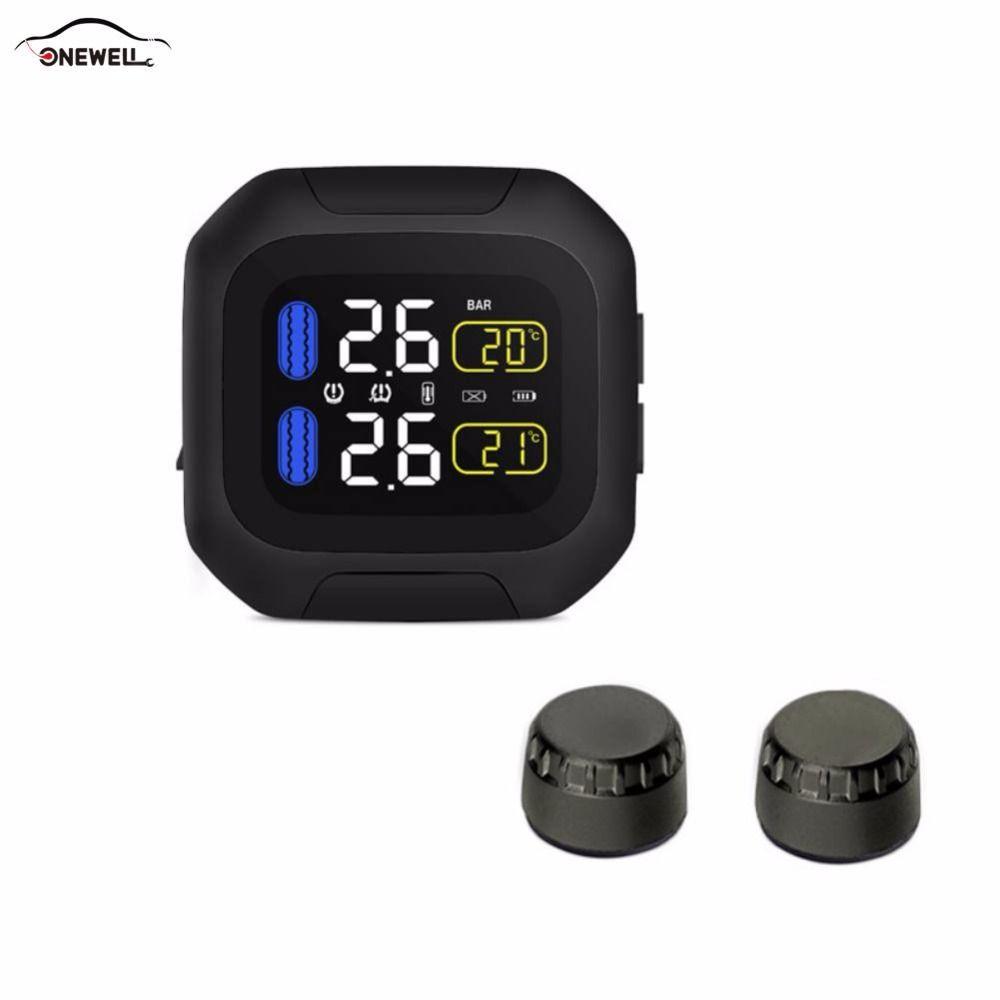 ONEWELL Original Engine Tire Pressure Monitoring System Wireless TPMS Motorcycle Tire Alarm 2 External Sensor Moto Tools