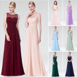 Elegant Long Evening Dress Ever pretty EP08784 2019 Real Picture Green Chiffon A-Line Sleeveless Beadings Evening Party Gowns
