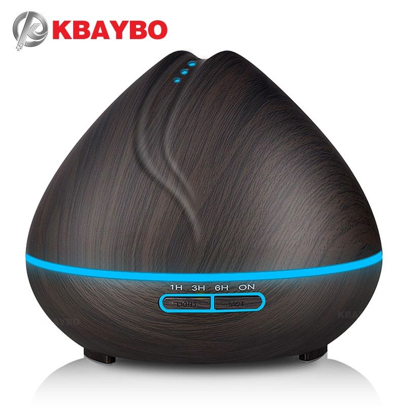 KBAYBO 400ml Aroma Essential Oil Diffuser Ultrasonic Air Humidifier purifier with Wood Grain LED Lights for Office Home Bedroom