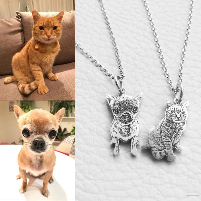 Private Custom Provide Photo Customization JEWELS 925 Sterling Silver DIY Dog Pedant Necklaces Pet Charm Silver Necklace Jewelry