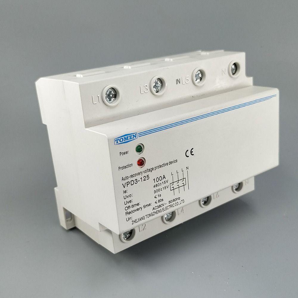 100A 380 V Drei Phase vier draht din-schiene automatische wiederherstellung überspannung und unter spannung schutz relais