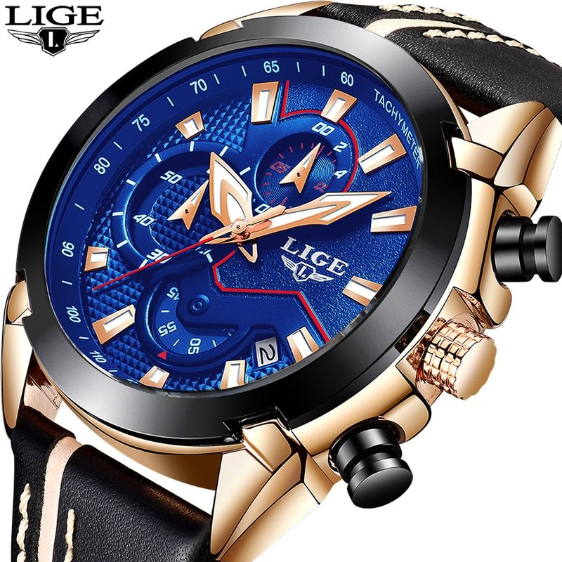 2018 New LIGE Top Luxury brand Watch Men Sport Waterproof Leather Quartz Watch Male Casual Fashion Dress Clock Relogio Masculino