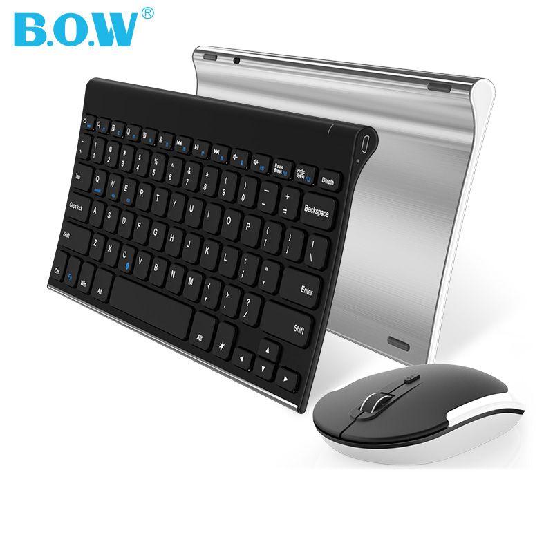 BOW Sans Fil Clavier et Souris Combo, Murmure-silencieux 2.4G Métal Ultra-Mince Portable Sans Fil Clavier pour ordinateur De Bureau