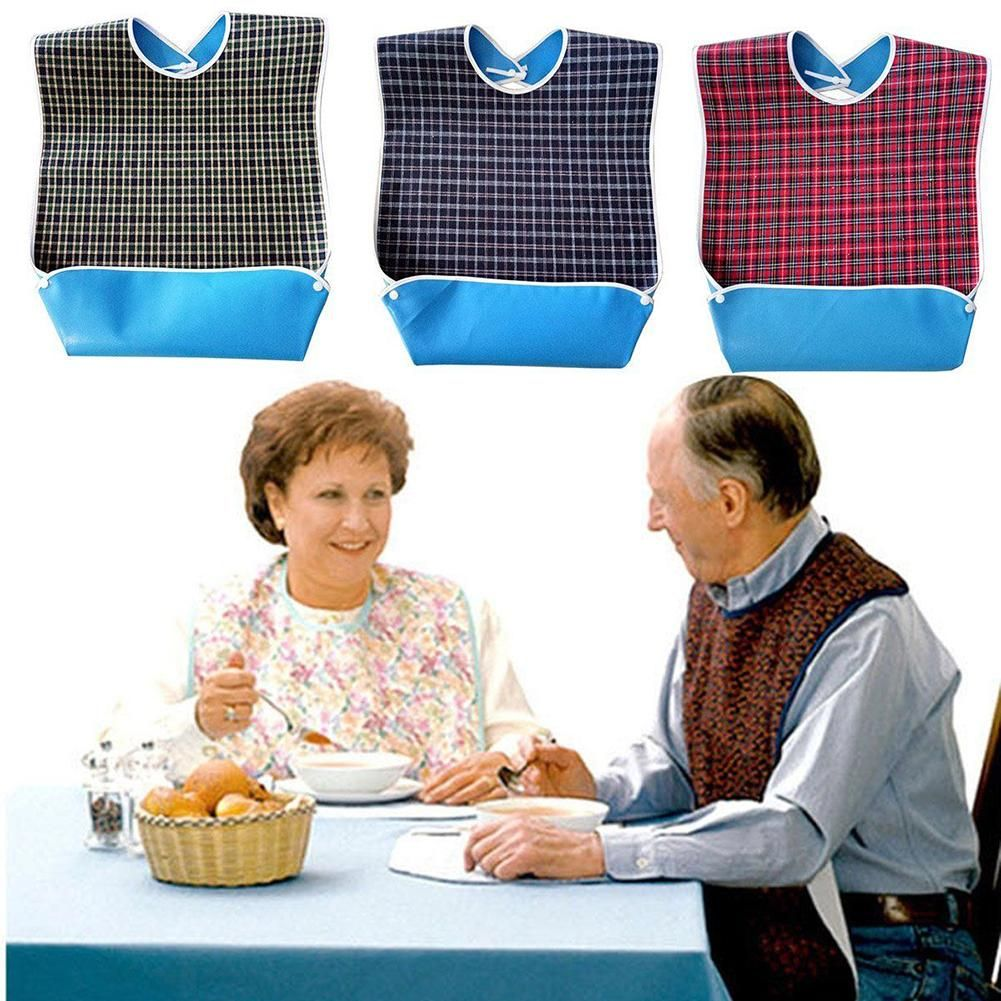 Waterproof Old People Meal Eating Drinking Bib Protector Disability Aid Apron