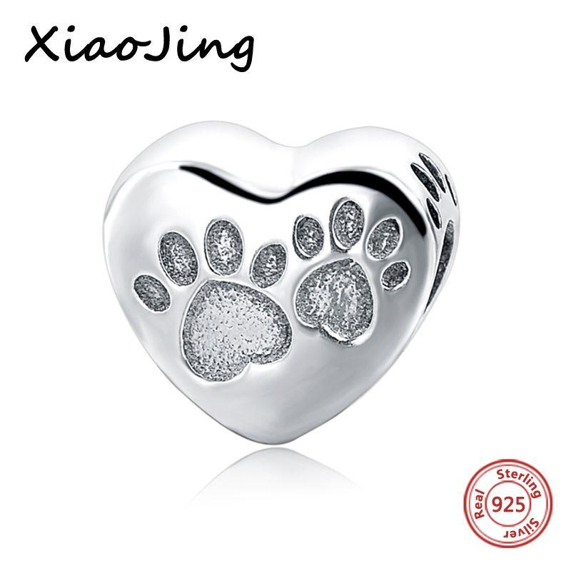 Empreintes chien amour mom Coeur Perles Fit Authentique Pandora Bracelets charms argent 925 d'origine Pendentif Pour Cadeaux de Mère