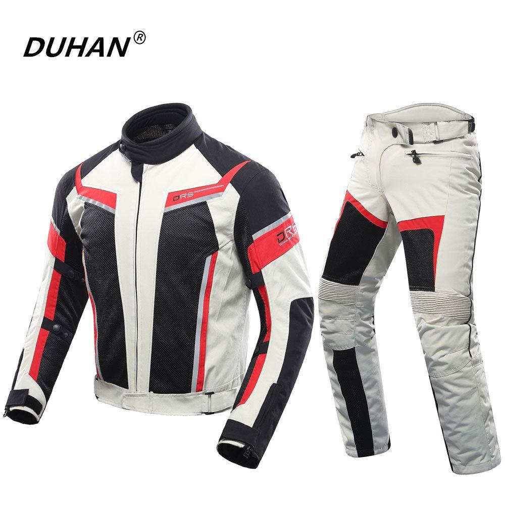 DUHAN Hommes Moto Veste + Moto Pantalon Respirant Femmes Racing Veste Amateurs Costumes Moto Pantalon D'équitation Vêtements Ensemble