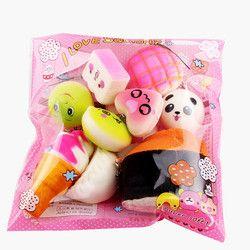 Tisu Anti-Stres 10 Pcs Medium Mini Lembut Empuk Roti Mainan Kunci Indah Laki-laki Anak Perempuan Mainan untuk Anak hadiah Grosir