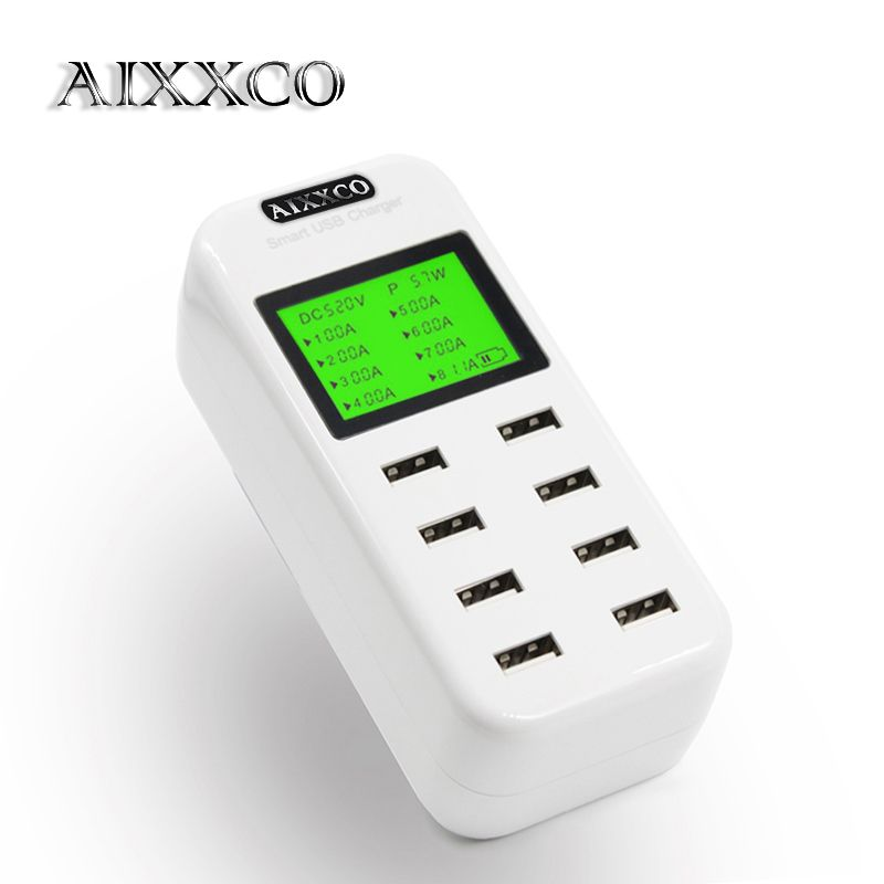 AIXXCO Smart 8A USB charger with LCD Display with 8 usb power ports for iphone samsung Mobile phone