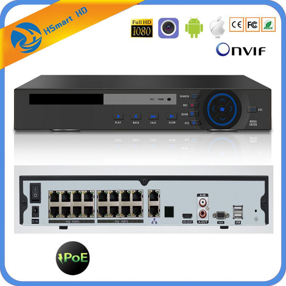 H.265 16CH 4K 48V POE NVR Für 3.0MP 4.0MP 5.0MP ONVIF IP PTZ Kamera CCTV System Überwachung 2SATA 8CH POE NVR H.264 P2P Wolke