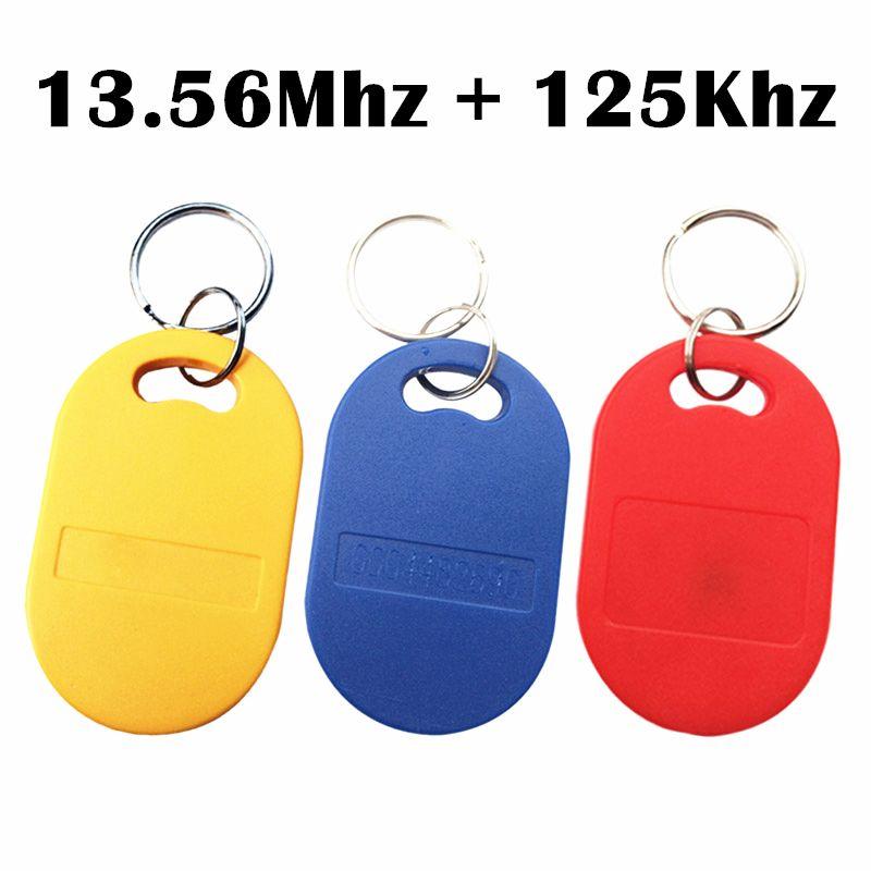 5Pcs IC ID UID 13.56MHZ RFID 125KHZ T5577 EM4305 Dual Chip Frequency Changeable Writable Rewritable Composite Key Tags Keyfob