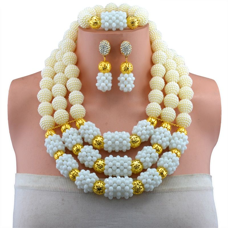 Nigerian Wedding Multi Layer Necklace / Earring Indian Jewelry Sets White Necklace Fashion African Beads Jewelry Set