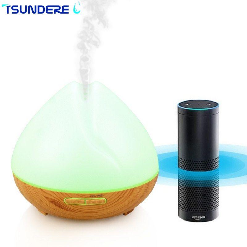 TSUNDERE L 400ML Air Humidifier WiFi Smart Aroma Diffuser Essential Oil Diffuser Voice Wizard Voice Control Suitable For Home