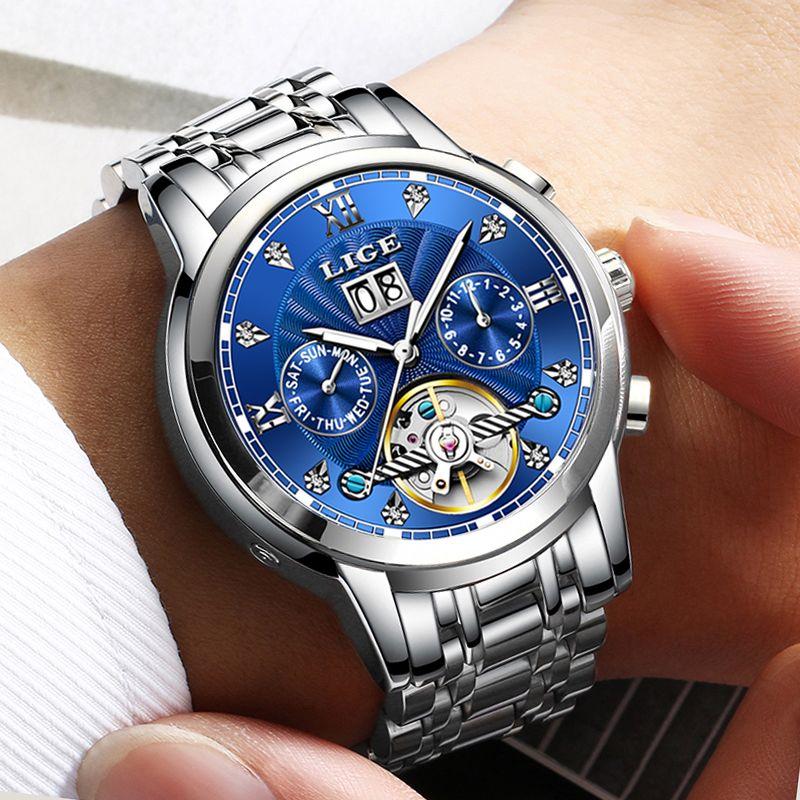 LIGE Männer Uhr Mechanische Tourbillon Luxus Mode Marke Edelstahl Sport Uhren Herren Automatische Uhr Relogio Masculino