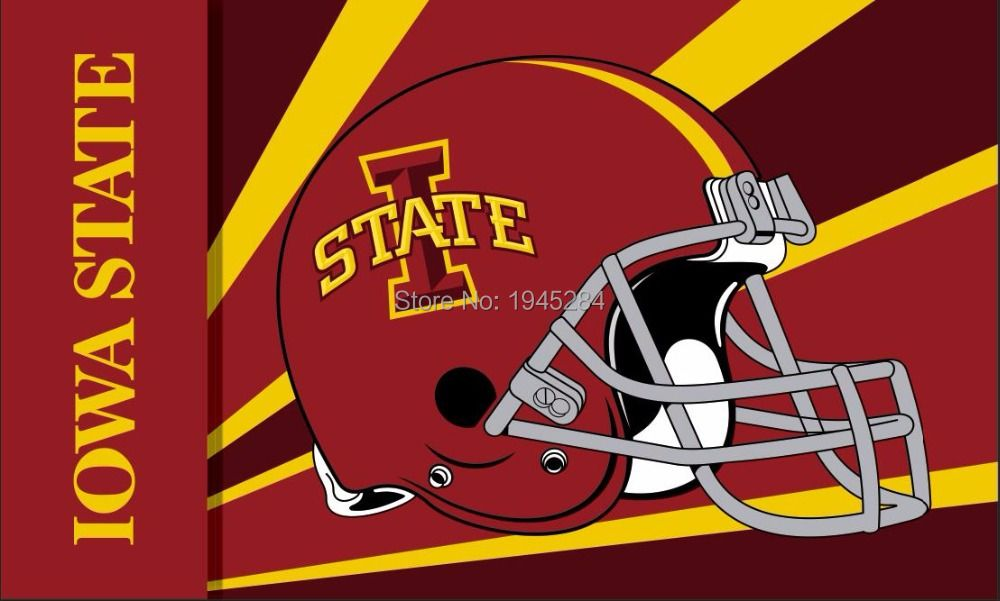 Iowa State Cyclones Helmet Wordmark Flag Banner New 3x5FT 90x150CM Polyester NCAA, free shipping