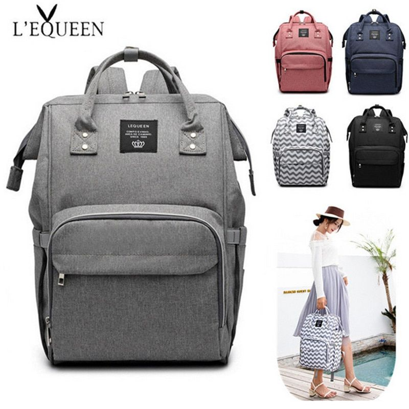 LEQUEEN Diaper Bag Pure Color Men's Mummy Baby Care Nappy Bag 44CM Large Capacity Waterproof Business Backpack Travel Bag