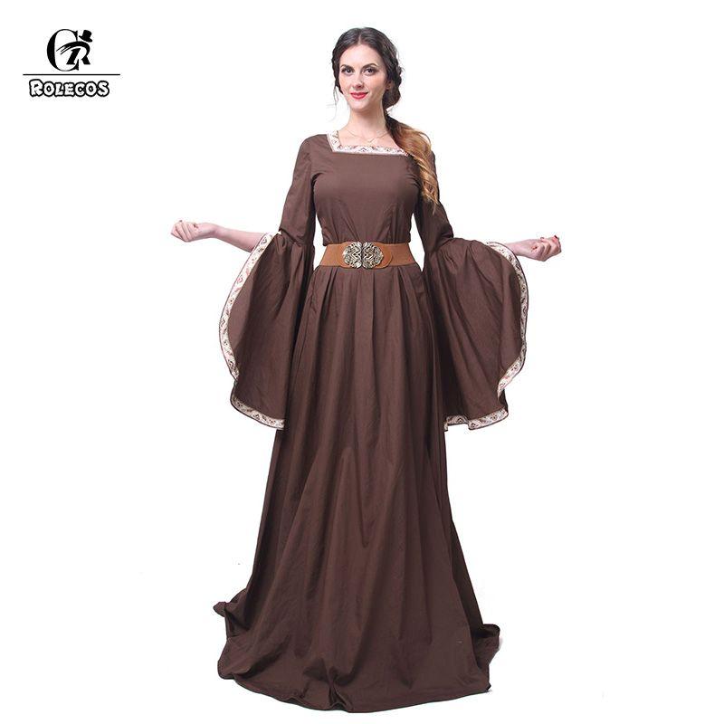 ROLECOS Women's Medieval Renaissance Retro Costume Coffee Long Soft Cotton Evening Dresses Dance Costume