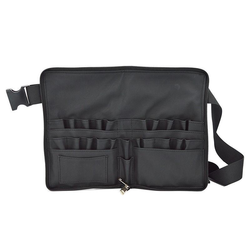 Black Two Arrays Makeup Brush Holder Professional PVC Apron Bag Artist Belt Strap Portable <font><b>Make</b></font> Up Bag Cosmetic Brush Bag
