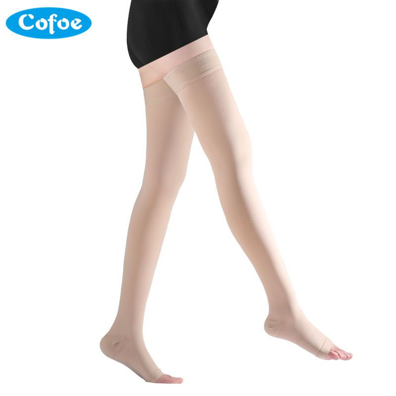 Cofoe A <font><b>Pair</b></font> Compression Stockings Varicose Veins 34-46mmHg Pressure Level 3 mid-Calf length Medical Socks for Beautiful Women
