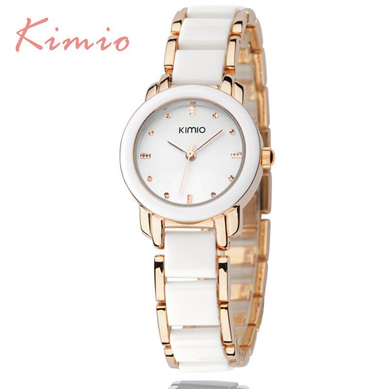 KIMIO роскошные женские Модные часы кварцевые часы, браслет Наручные часы браслет из нержавеющей стали Для женщин часы с подарочной коробке