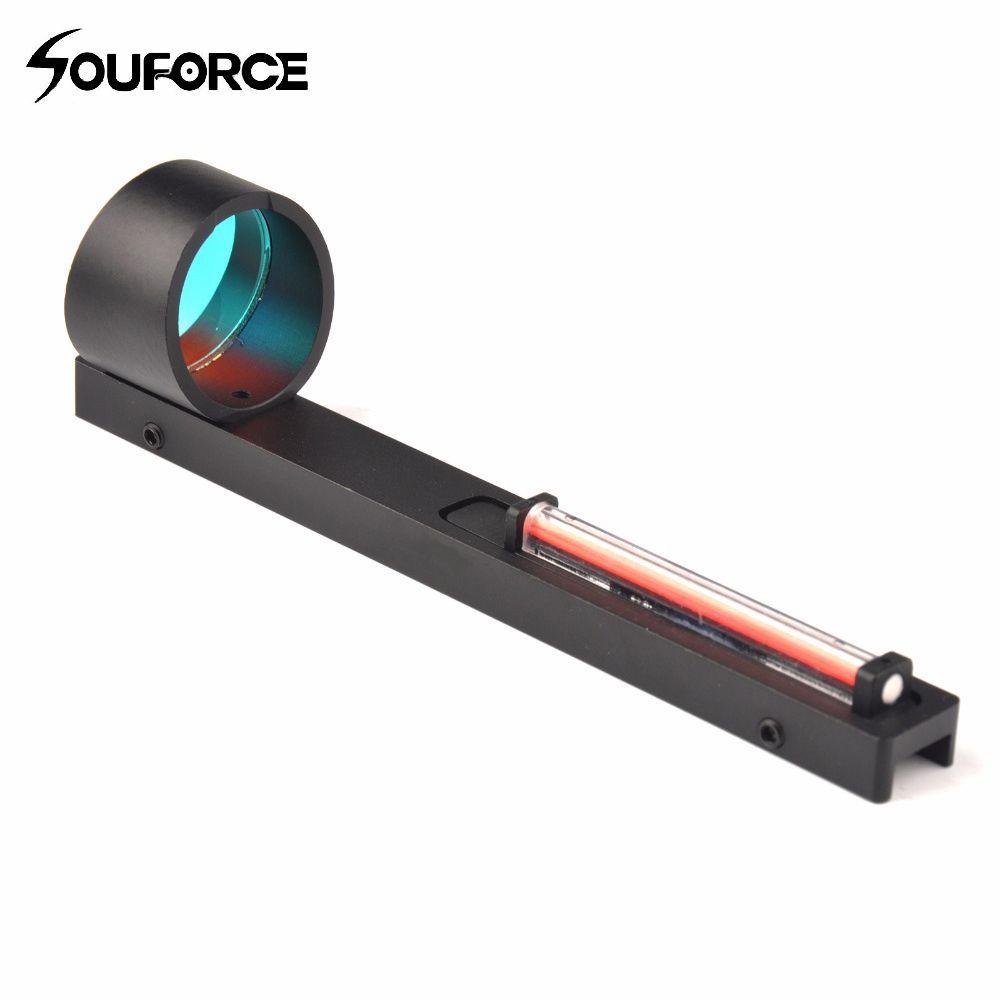Красный Волокно Красный точка зрения Область голографический прицел Fit Shotgun ребра Rail Охота Стрельба