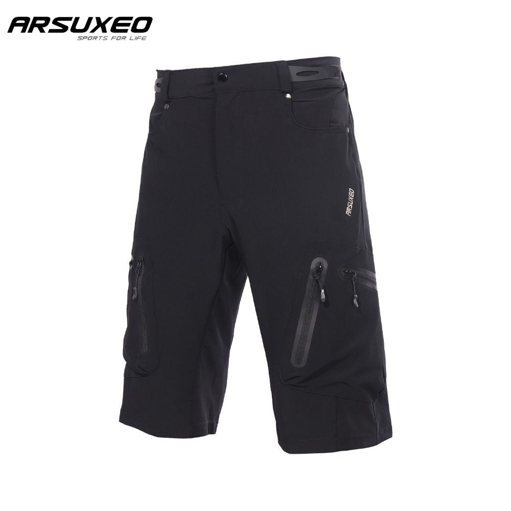 ARSUXEO Men's Outdoor Sports Cycling Shorts MTB Downhill Shorts Mountain Bike Bicycle Shorts Water Resistant Loose Fit 1202