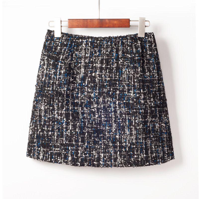 2019 Nouveau Printemps De Mode Petit Frais Style Paillettes Tweed Jupe Crayon Taille Haute Sac Hanche Jupe Tout-Allumette Mini Jupe Livraison gratuite