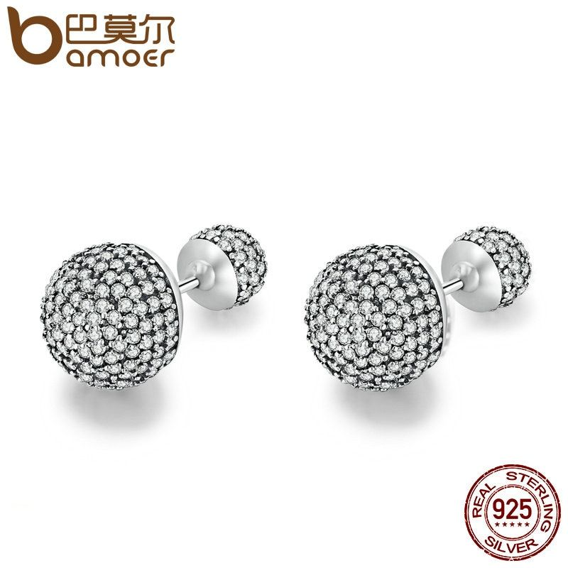 BAMOER Authentic 925 Sterling Silver Classic Pave Drops, Clear CZ Round Stud Earrings for Women Jewelry Bijoux Gift PAS507