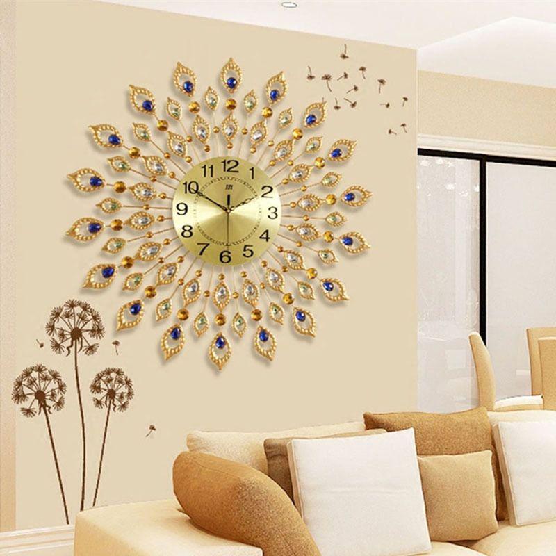 Large Wall Clock Saat Luxury Relogio de Parede Duvar Saati Diamond Peacock Metal Wall Clocks Home Decor Klok Living Room Clocks