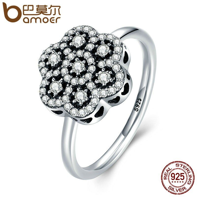 BAMOER Genuine 925 Sterling Silver Heart Pave Clear CZ Flower Finger Rings for Women Luxury Sterling Silver Jewelry Gift PA7631