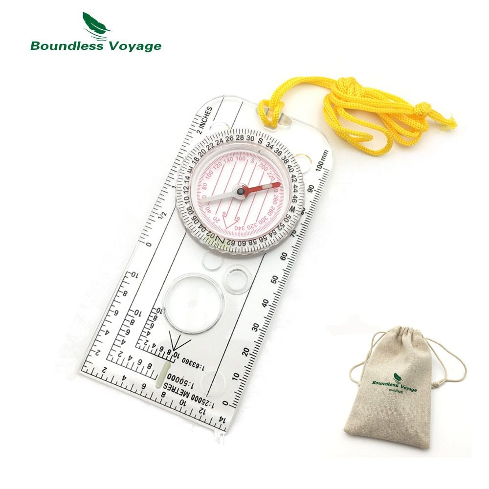 Boundless Voyage Multifunction Outdoor Survival Camping Compass Map Scale Compass with magnifying glass BVC04