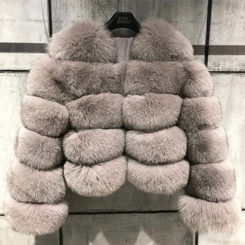 FURSARCAR Fashion 2018 New Natural Real Fox Fur Jacket Women Winter Thick Warm Slim Short Fox Fur Coat Autumn Luxury Real Fur