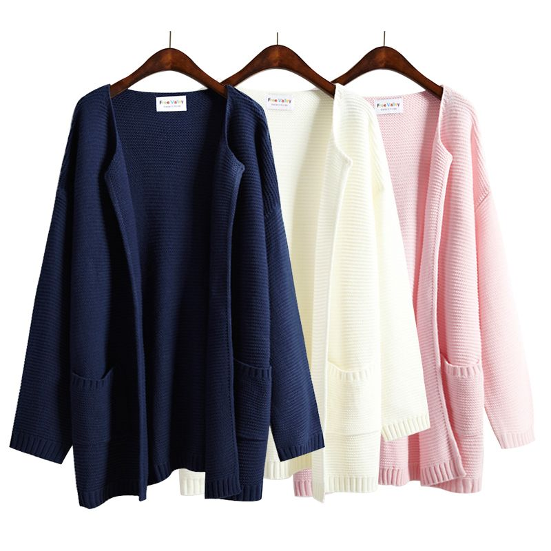 Women'S Harajuku Kawaii Loose Sweater Female Solid Color No Button Outerwear Pullover Medium-Long Loose Cardigan Knitted