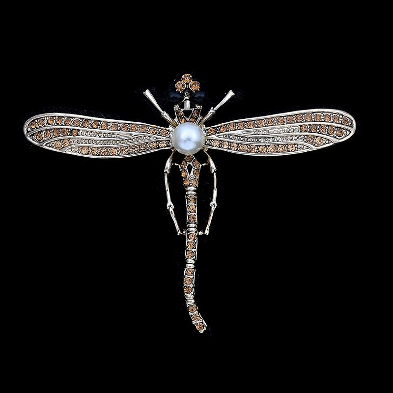 OBN Vintage Gold Tone CZ Pave Rhinestone Decoration Dragonfly Brooches Pin Antique Insect Jewelry Broach
