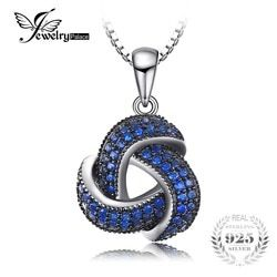 JewelryPalace 0.5ct Created Blue Spinel Flower Pendant Necklace 925 Sterling Silver Jewelry for Women Anniversary Gift For Women