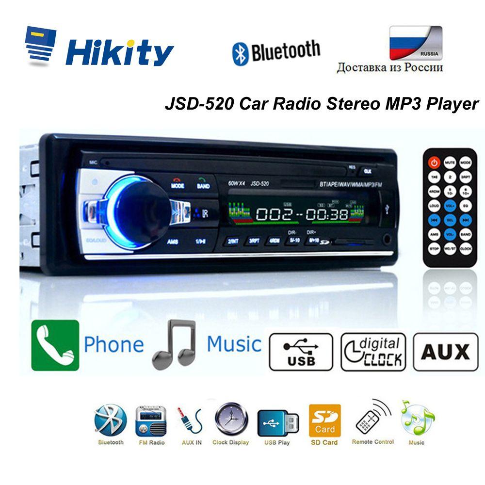 Hikity Autoradio Bluetooth 12V Autoradio FM entrée auxiliaire récepteur SD USB JSD-520 IN-dash 1 din voiture lecteur MP3 multimédia