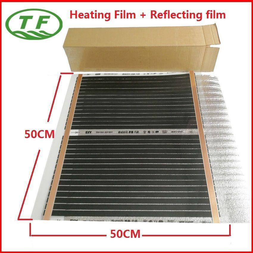 Новая распродажа AC220V 0.25m2 дальнего инфракрасного электрического углерода Плёнки 50 см * 50 см отопление пола с 2 мм Толщина являясь Плёнки