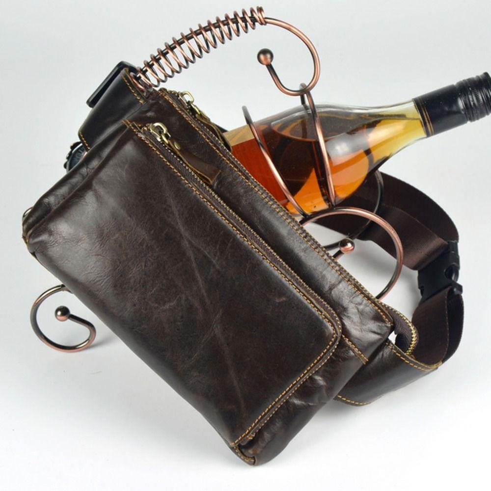 Для мужчин масла Воск Пояса из натуральной кожи натуральной Винтаж Хип бум Поясная Сумка дорожная ячейка/мобильный телефон, кошелек сумки