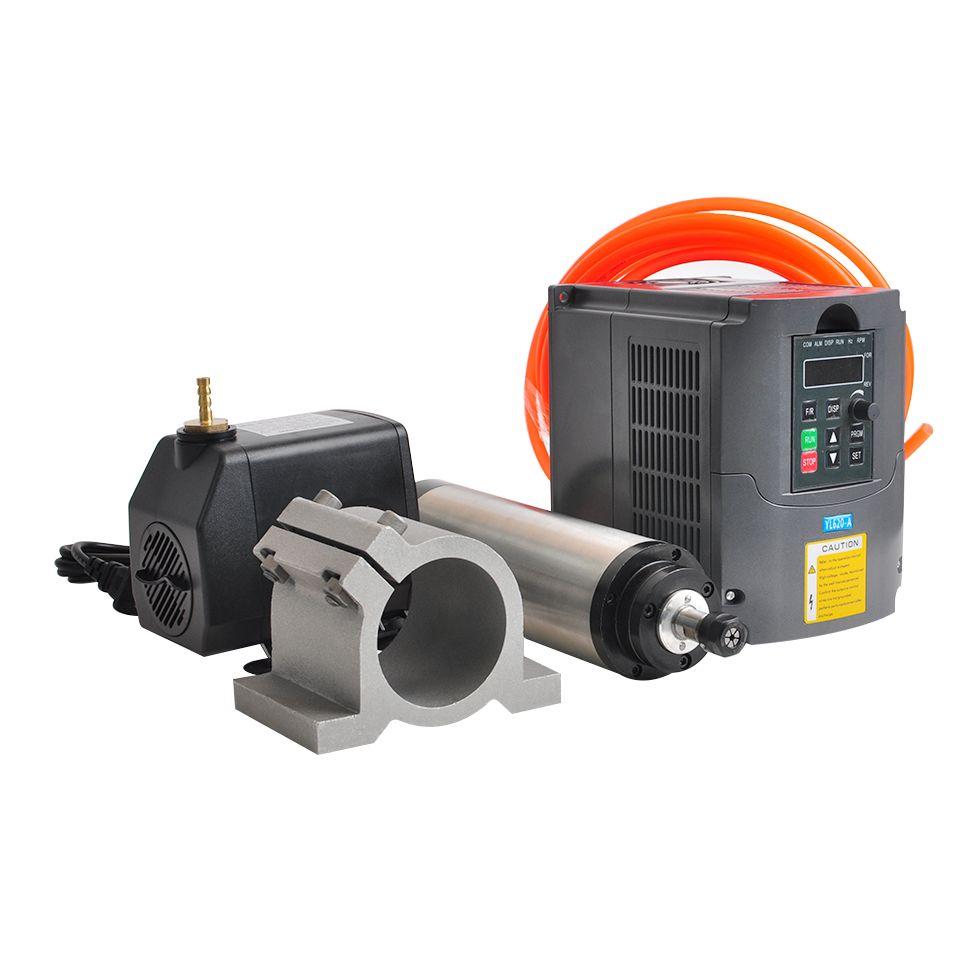 Spindel 1.5KW Wasser Gekühlt Spindel Motor 65 MM Clamp Halterung 1.5KW VFD Inverter Konverter 75 W Wasserpumpe 5 M rohr Für CNC Stecher