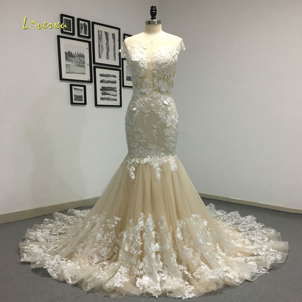 Loverxu Romantic Scoop Neck Backless Princess Mermaid Wedding Dress 2018 Gorgeous Appliques Robe De Mariage Bride Gown Plus Size