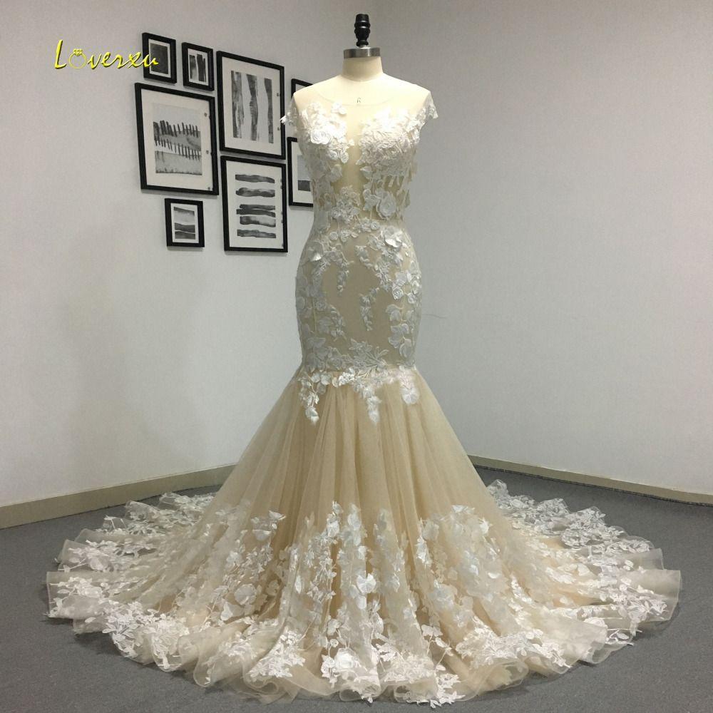 Loverxu Romantic Scoop Neck Backless Princess Mermaid Wedding Dress 2018 Gorgeous Appliques Robe De Mariage Bride Gown Plus Size