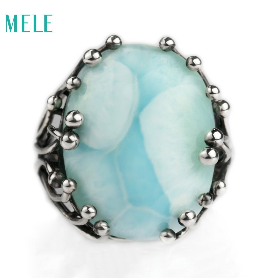 Natural larimar silver ring, oval 15mm*20mm, blue <font><b>stone</b></font> and special design, both men and women , aitistic and exquisite