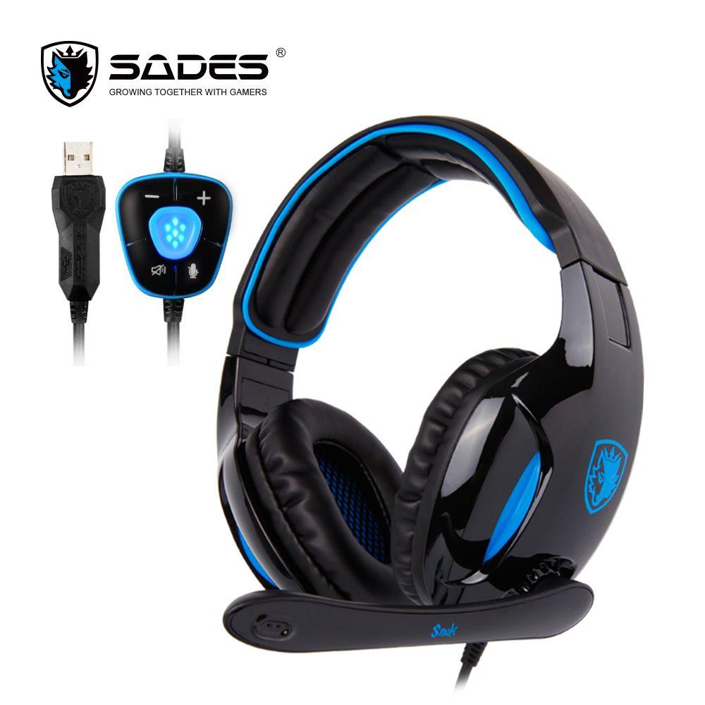 SADES SNUK Gaming Headset USB Headphones Virtual 7.1 Surround <font><b>Sound</b></font> Gamer Headphones