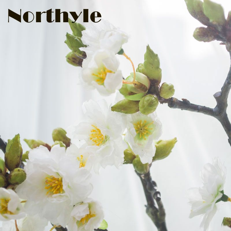 Northyle Real Touch Artificial Cherry Branches Decoration Fake Cherry Blossom Wedding Decoration Sakura Artificial Flower