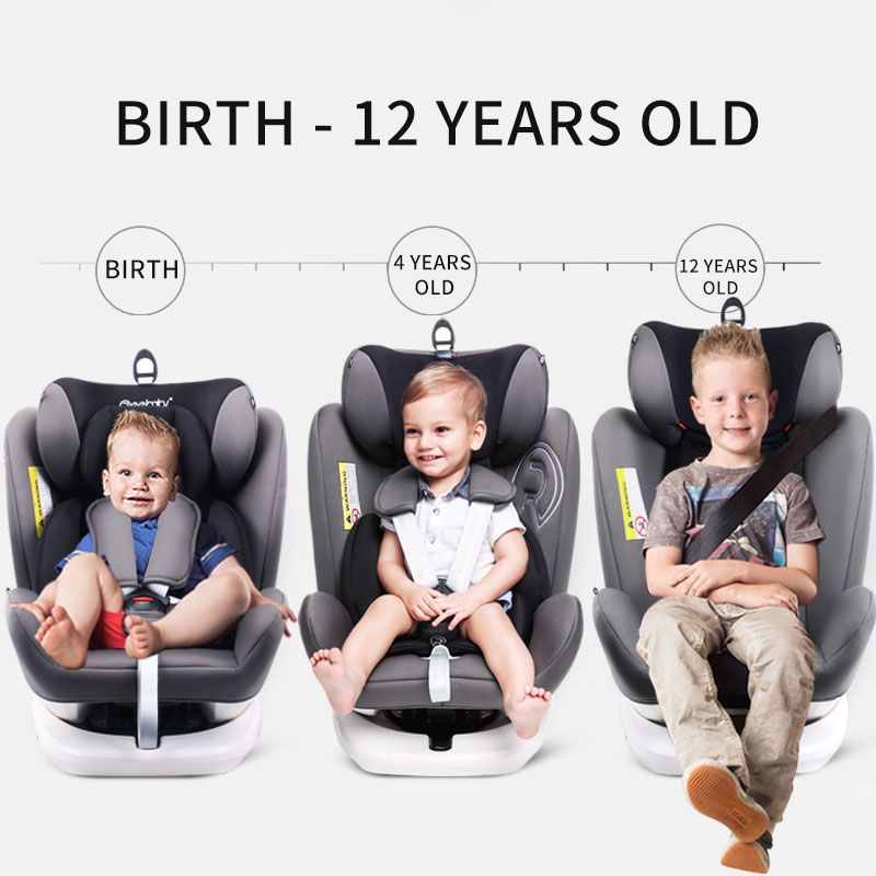 Newborn 360 Degree Rotating Seat Car Universal Infant Baby Sitting And Lying Basket Adjustment 0-12 Years Old